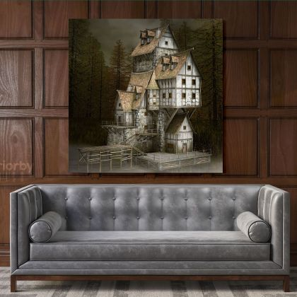 3D Fantasy Fairytale House Canvas with Frame Fantasy Wall Art Picture Poster Print Home Decoration Living Dining Room Wall Art Mural Gift