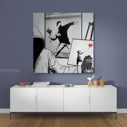 Banksy Style Girl with Ballon Flower Thrower Collage Canvas with Frame