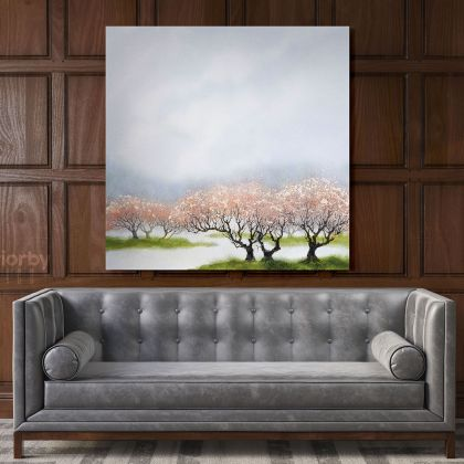 Modern Watercolour Spring Tree Paint Canvas with Frame Painting Wall Art Picture Poster Print Home Decoration Living Dining Room Mural Gift