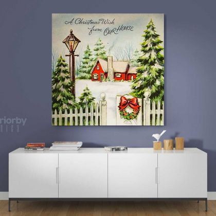 Merry Christmas Greeting Gift Print Painting on Framed Canvas