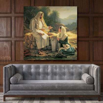 Living Water  Jesus Christ and the Samaritan Woman Photo Print Poster Canvas