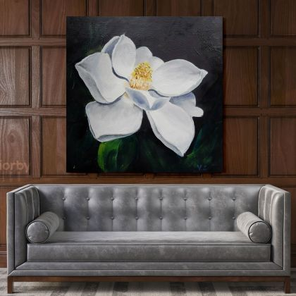 White Magnolia Flower Painting Artwork Print Poster on Canvas Wall Art Hangings Floral ation Living Room Wife Gift Magnolia Flower