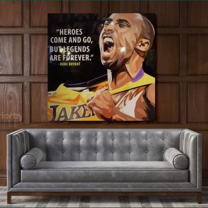 Mamba Mentality Inspirational Quote Kobe Bryant Photo Print on Canvas