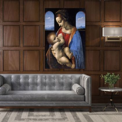 Famous Madonna Litta and Child Painting by Leonardo Da Vinci Photo Print on Canvas with Frame Home Decor Wall Mural