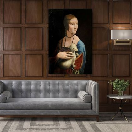 Lady with an Ermine Painting by Leonardo Da Vinci Photo Print on Canvas Home Decoration Living Room Wall Posters Mural Hangings Canvas Gift
