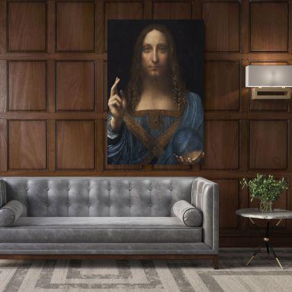 Famous Salvator Mundi Painting by Leonardo Da Vinci Photo Print on Canvas Home Decoration Living Room Wall Mural Hangings