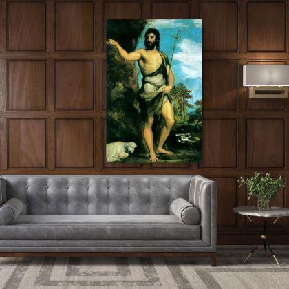 Saint John the Baptist Famous Painting by Leonardo Da Vinci Photo Print on Canvas Home Decoration Wall Mural Hangings Gift