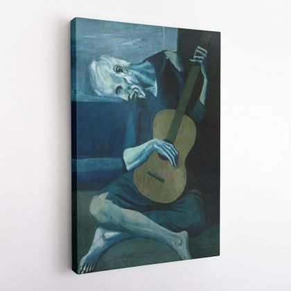 Pablo Picasso: Old Guitarist Artistic Modernism Famous Painting Photo Print on Canvas