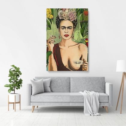 Frida Con Amigos High-Quality Print, Canvas Prints, Wall Decor, Canvas Wall Art, Ready to Hang Canvas, Art, Home Decoration
