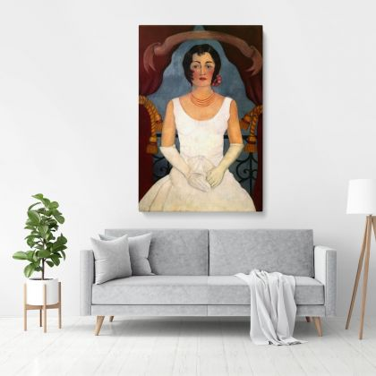 Frida Kahlo Portrait of an injury in white Photo Print on Canvas, Wall Art Home Decor, Ready to Hang Canvas, Art, Home Decoration