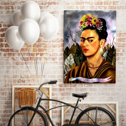 Frida Self-portrait Painting Photo Print on Canvas, Wall Art Home Decor, Ready to Hang Canvas, Art, Home Decoration