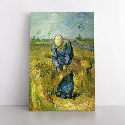Vincent Van Gogh Painting Peasant Woman Binding Sheaves Painting Photo Print on Canvas Wall Mural