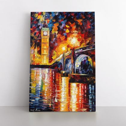 Palette Knife London Oil Painting by Leonid Afremov Photo Print on Canvas with Frame Home Decor Wall Mural Hangings