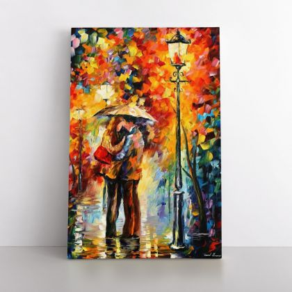 Famous Palette Knife Art Kiss Under the Rain Oil Painting by Leonid Afremov Photo Print Canvas Home Decor Wall Mural