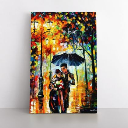 Palette Knife Art Warm Night Oil Painting by Leonid Afremov Photo Print on Canvas with Frame Home Decor Wall Mural