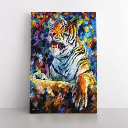 Tiger Oil Painting by Leonid Afremov Palette Knife Art Photo Print on Canvas with Frame Home Decor Wall Mural