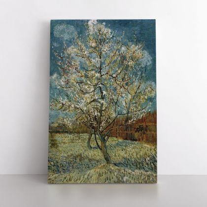 Vincent Van Gogh Painting Pink Peach Tree In Blosom Abstract Painting Photo Print on Canvas Wall Art Mural Gift