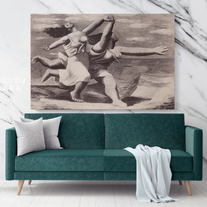 Pablo Picasso: Two Women Running on the Beach Artistic Modernism Painting Canvas Photo Print Wall Mural Home Decor