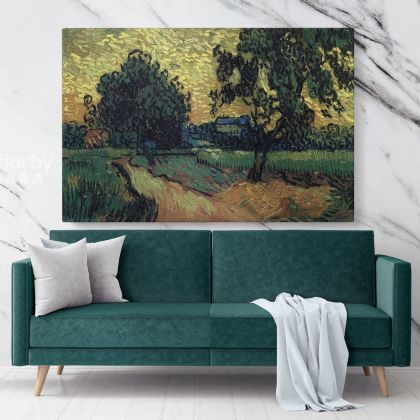 Landscape at Twilight by Vincent Van Gogh Dutch Painter Original Painting Canvas Photo Print with Frame Wall Mural
