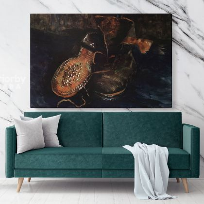 A Pair Of Shoes One Shoe Upside Down Painting by Vincent Van Gogh Dutch Painter Original Painting Photo Print on Canvas Wall Mural