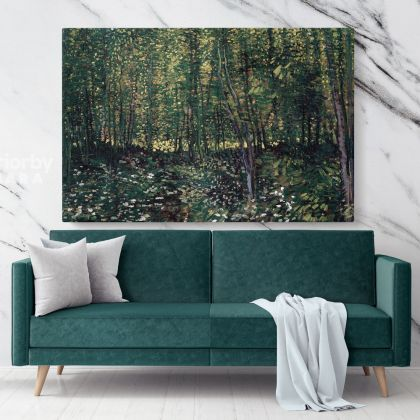 Trees and Under Growth Painting by Vincent Van Gogh Dutch Painter Original Painting Canvas Photo Print Wall Artwork