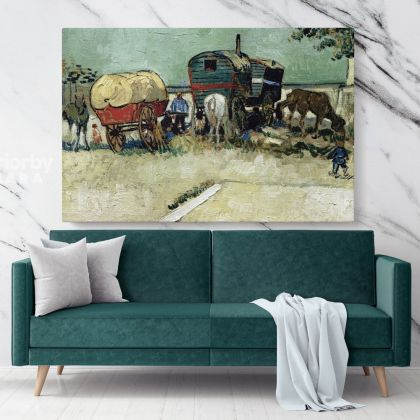 Encampment Of Gypsies With Caravans Painting by Vincent Van Gogh Dutch Painter Original Painting Canvas Photo Print Wall Mural