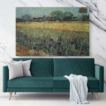 Orchard with Blossoming Apricot Trees Painting by Vincent Van Gogh Dutch Painter Original Painting Canvas Photo Print Wall Art
