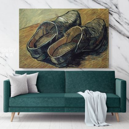A Pair Of Wooden Clogs Painting by Vincent Van Gogh Dutch Painter Original Painting Photo Print on Canvas Wall Mural Artwork