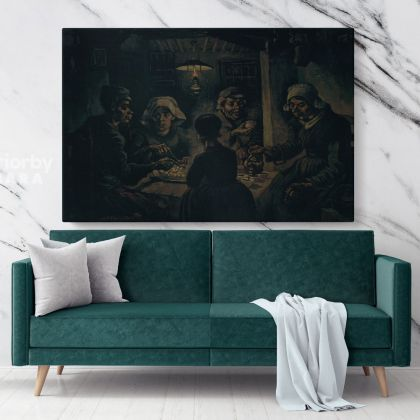 The Potato Eaters Painting by Vincent Van Gogh Dutch Painter Original Painting Photo Print on Canvas Wall Mural Art