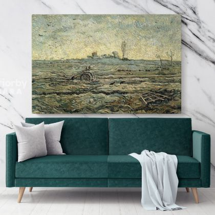 The Plough And The Harrow After Millet Painting by Vincent Van Gogh Dutch Painter Original Painting Photo Print on Canvas Mural