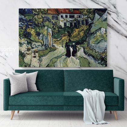 Village Street And Steps In Auvers With Figures Painting by Vincent VanGogh Dutch Painter Original Painting Canvas Photo Print Wall Mural
