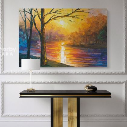 Leonid Afremov Original Oil Painting Canvas Photo Print Yellow River Famous Posters Home Decor Wall Mural