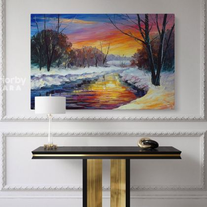 Leonid Afremov Original Oil Painting Canvas Photo Print End of Winter Day Famous Portraits Posters Home Decor Wall Mural