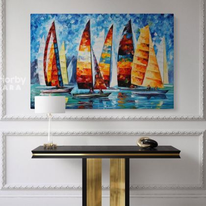 Sail Regatta - Palette Knife Oil Painting By Leonid Afremov Famous Posters Canvas Photo Print Wall Mural