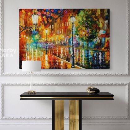 Famous Street of Illusions Oil Painting by Leonid Afremov Canvas Photo Print with Frame Home Decor Wall Mural Posters