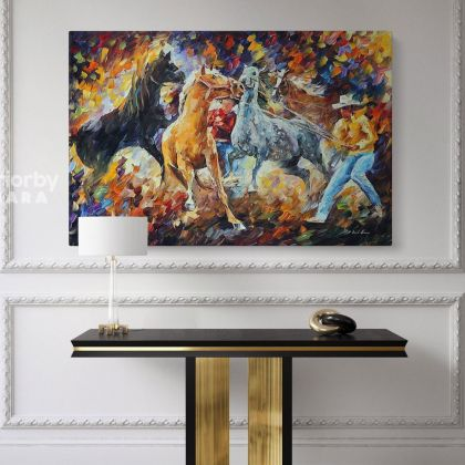 Leonid Afremov Horse Original Oil Painting Photo Print on Canvas with Frame Home Decor Wall Posters Mural Gift