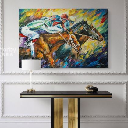 Famous Horse Racing Oil Painting by Leonid Afremov Canvas Photo Print with Frame Home Decor Wall PostersHangings Gift