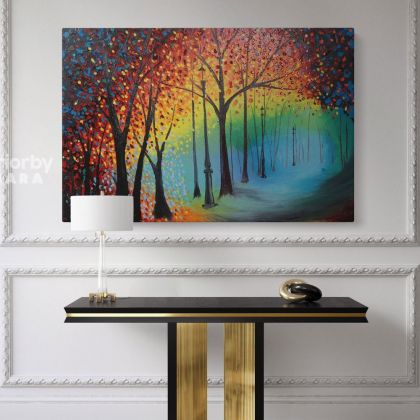Inspired Park Scene Original Oil Painting by Leonid Afremov Canvas Photo Print with Frame Home Decor Wall Mural Hanging