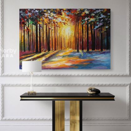 Sun of January Original Oil Painting by Leonid Afremov Canvas Photo Print with Frame Home Decor Wall Mural