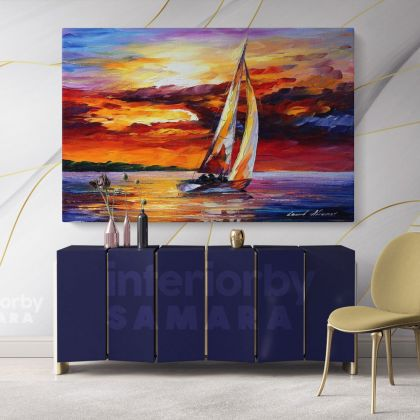 Palette Knife Boat Landscape Oil Painting by Leonid Afremov Photo Print on Canvas with Frame Home Decor Wall Mural Gift