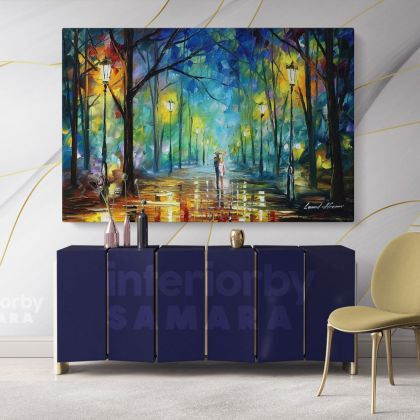Walk in Night Palette Knife Art Oil Painting by Leonid Afremov Canvas Photo Print with Frame Home Decor Wall Posters