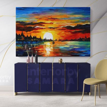 Sunrise in the Harbor Original Oil Painting by Leonid Afremov Canvas Photo Print with Frame Home Decor Wall Mural Gift