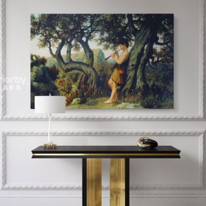 Henryk Hector Siemiradzki Painting Shepherd Playing Flute Photo on Canvas