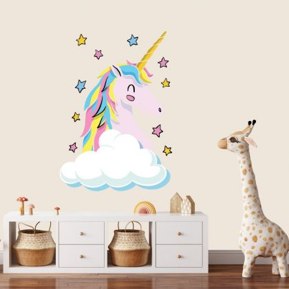Unicorn Wall Sticker with Cloud and Stars Wall Decal Stickers Fantasy Girls Bedroom Wall Art Cute Nursery