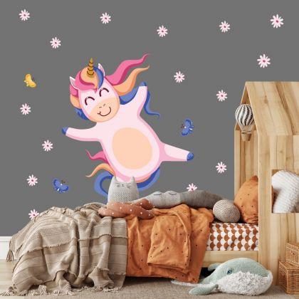 Unicorn with Flowers Wall Decal Stickers Fantasy Girls Bedroom Wall Art Cute Nursery