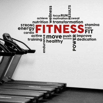 Fitness Motivational Home Gym Fitness Wall Decal, Fitness Words Gym Room Decor, Fitness Home Gym Vinyl Wall Sticker