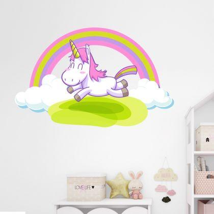 Unicorn with Rainbow Wall Decal Stickers Fantasy Girls Bedroom Wall Art Cute Nursery