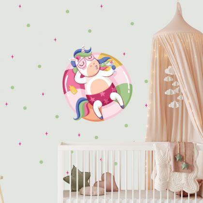 Chilling Unicorn Wall Decal Stickers Fantasy Girls Bedroom Wall Art Cute Nursery