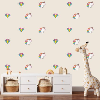 Unicorn with Diamond Pattern Wall Decal Stickers Fantasy Girls Bedroom Wall Art Cute Nursery
