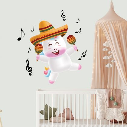 Musical Unicorn Wall Sticker with Musical Notes Wall Decal Fantasy Girls Bedroom Wall Art Cute Nursery
